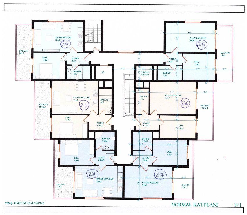 Central apartments dicht bij het strand cleopatra alanya turkije douchecabine dicht - Badkamer lengte plan ...